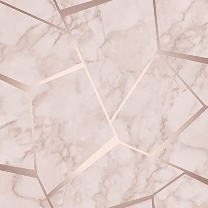 Fine Decor Fractal Geometric Marble Wallpaper Rose Gold Fd42264