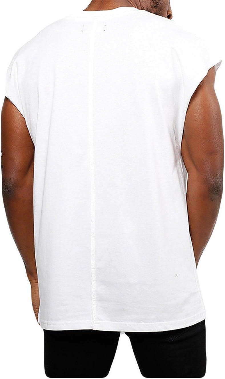 Mens Casual Muscle Gym Drop Shoulders T-Shirt