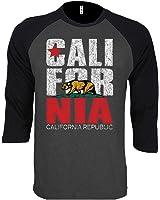 SR New Men's California Republic Vintage Baseball T-Shirt Black/Gray S-2XL