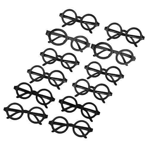 OULII 12pcs lunettes rondes cadre pas de lunettes lunettes posant costumes costume (noir)