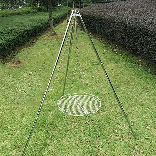 LYY Großes faltendes Holzkohlegrill-Stativ, tragbares BBQ-Werkzeug im Freien mit gegrilltem Netz, Rutschfeste Höhe justierbar