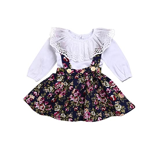 edff2b1367 Amazon.com  Sagton 2pcs Kids Baby Girls Clothes Set Ruffles Tops + Strap  Floral Print Skirt Outfits  Clothing