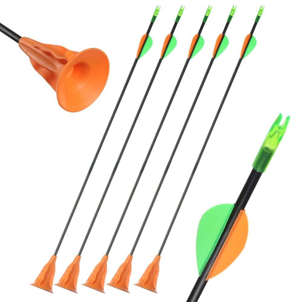 60CM Toparchery 12er Arrows with Suction Cup for Archery Fiberglass Practice Arrows with Suction Cup for Bow Children Set Bow and Arrow Kids 24inch Archery for Kids Bow