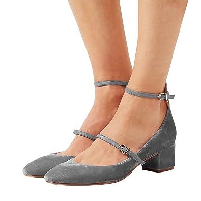 feb74cc7999 XYD Womens Retro Marry Jane Block Heel Pumps Velvet Ankle Strap Round Toe  Dress Shoes Size