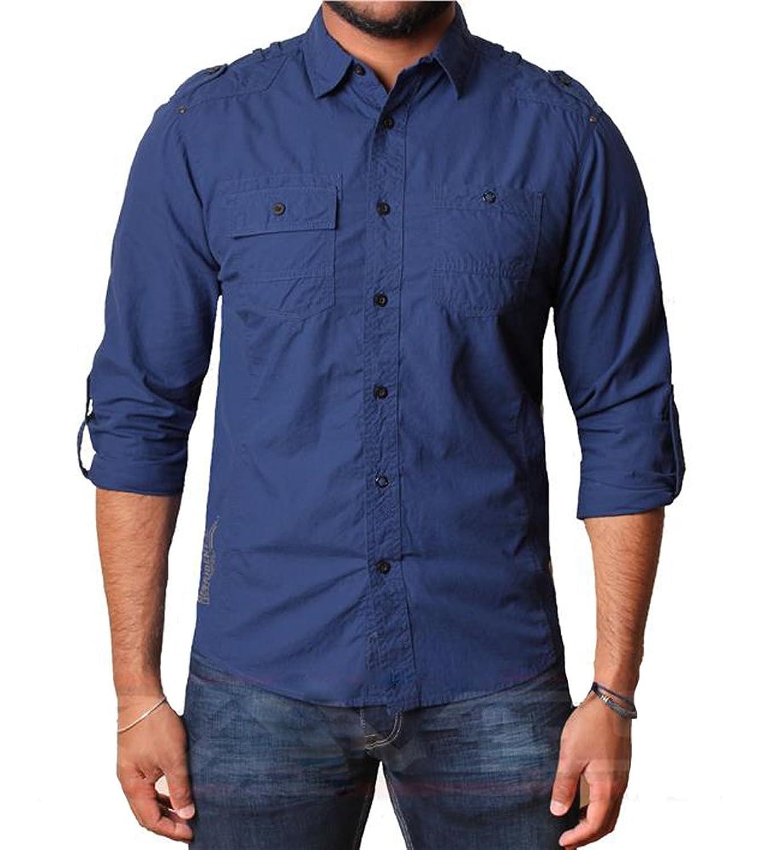 Das Hemd der Männer Dissident 100% Baumwollbeiläufige Shirt mit aufgerollten  Ärmeln Clellan: Amazon.de: Bekleidung