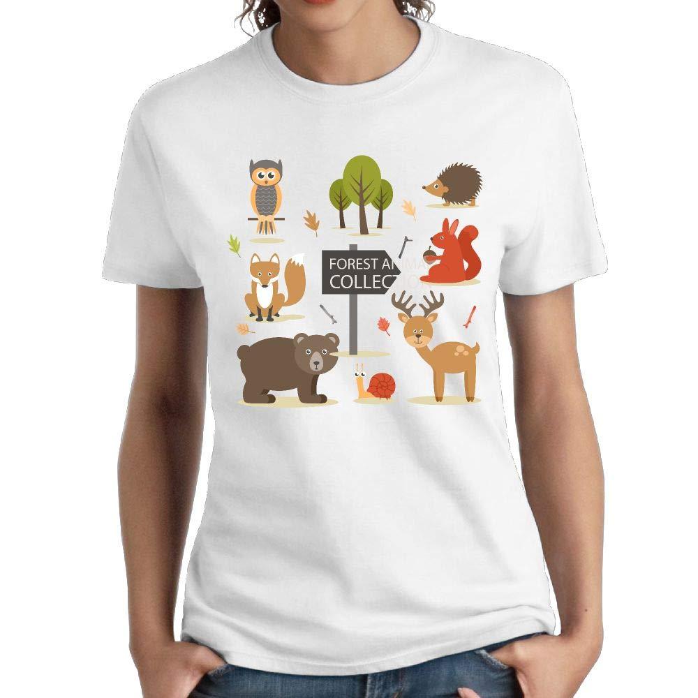 Shenigon Zoo Womens O-Neck Cotton Graphic T-Shirt White