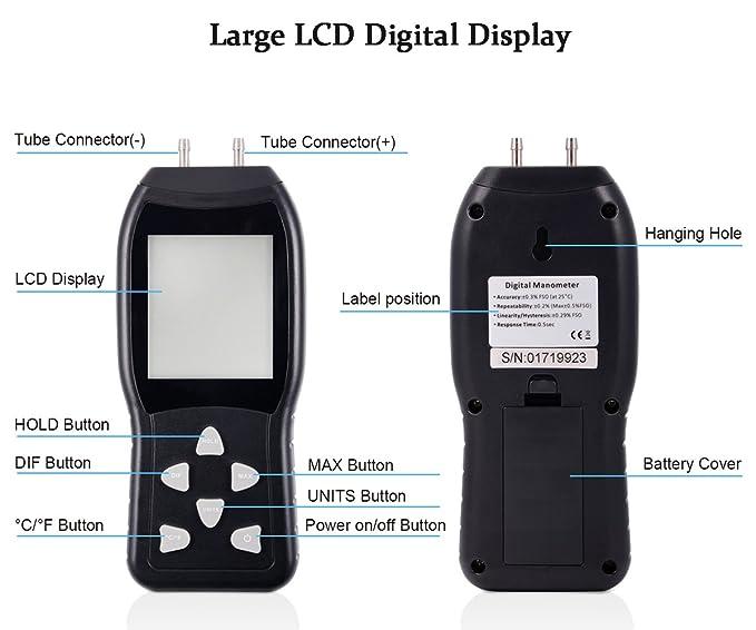 FOSHIO Gran pantalla LCD manómetro digital con luz de fondo, medidor de presión de aire y manómetro diferencial HVAC probador de presión de gas: Amazon.es: ...