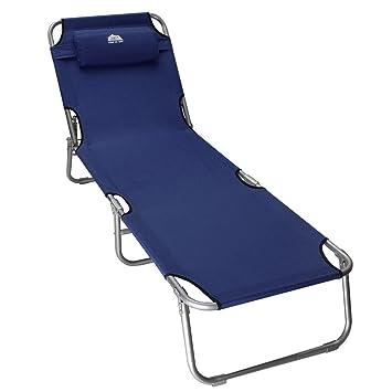 KING DO WAY Reclining Folding Sun Garden Outdoor Patio Guest Bed Lounger  Recliner Seat Chair Navy