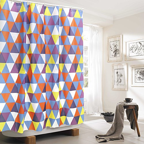 PEVA Colorful Triangle Bathroom Shower Curtain Liner With 12 Hooks ...