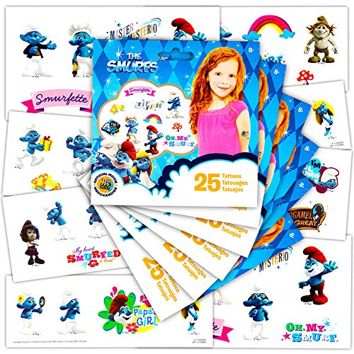 Smurfs Party Favors Tattoos Set -- 6 Individually Wrapped Party Packs, 150 Smurfs Temporary Tattoos Total (Smurfs Party Supplies)
