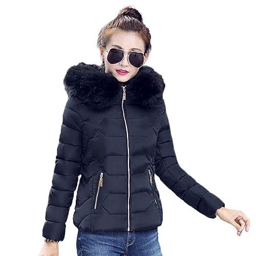 KOROWA Mujeres delgadas gruesas cuello de piel con capucha corto invierno chaquetas abrigos abrigo