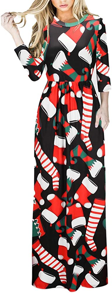 TALLA (EU48-50)XXL. Lover-Beauty Vestido Largo Floral Print Casual para Noche Fiesta Playa Fiesta Manga Larga Cuello Redondo Vestido Verano Cuello V Multicolor 3 (EU48-50)XXL