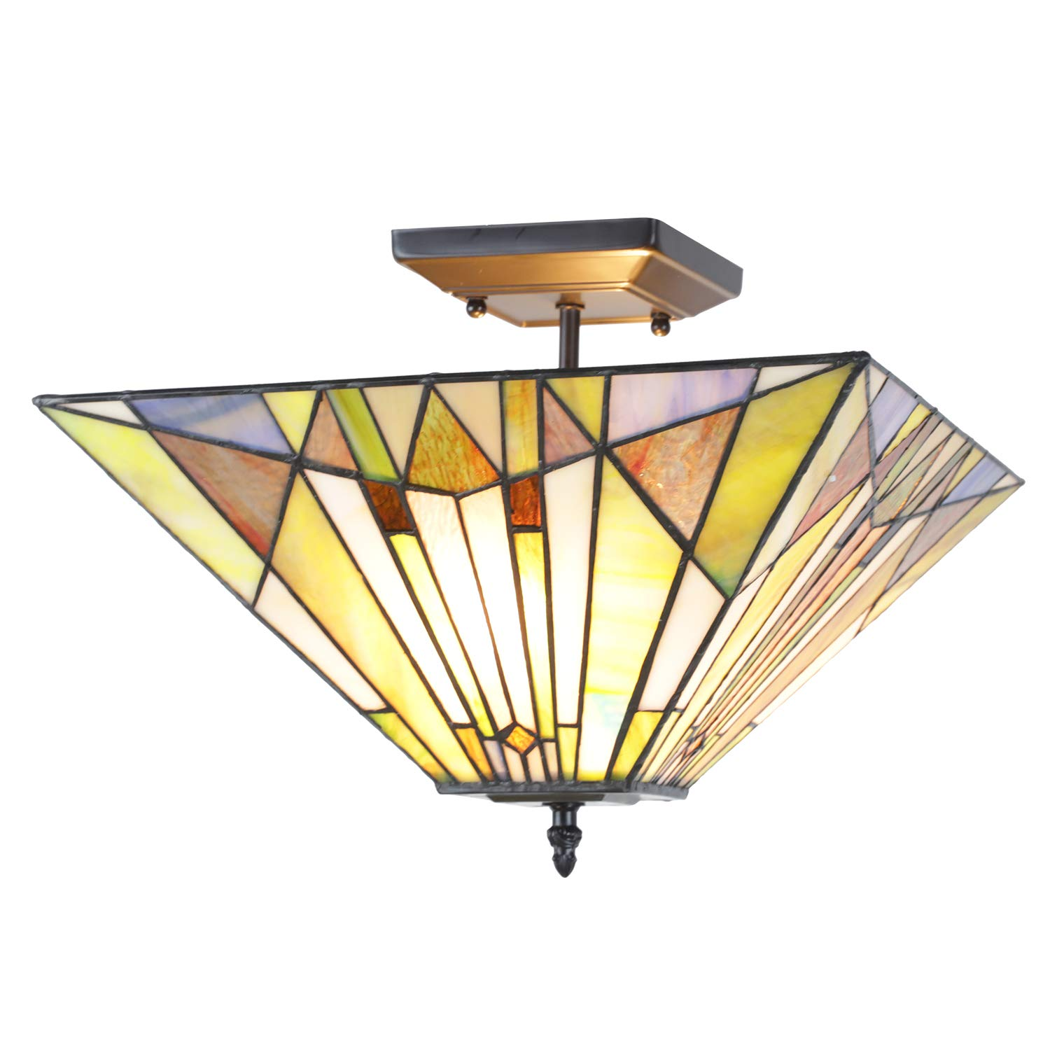 VINLUZ Ceiling Lighting Tiffany Style 2-Light Art Mission Chandeliers with 14-inch Stained Glass Shade Vintage Flush Mount Ceiling Light Fixtures Hanging for Dining Room Living Room Bedroom
