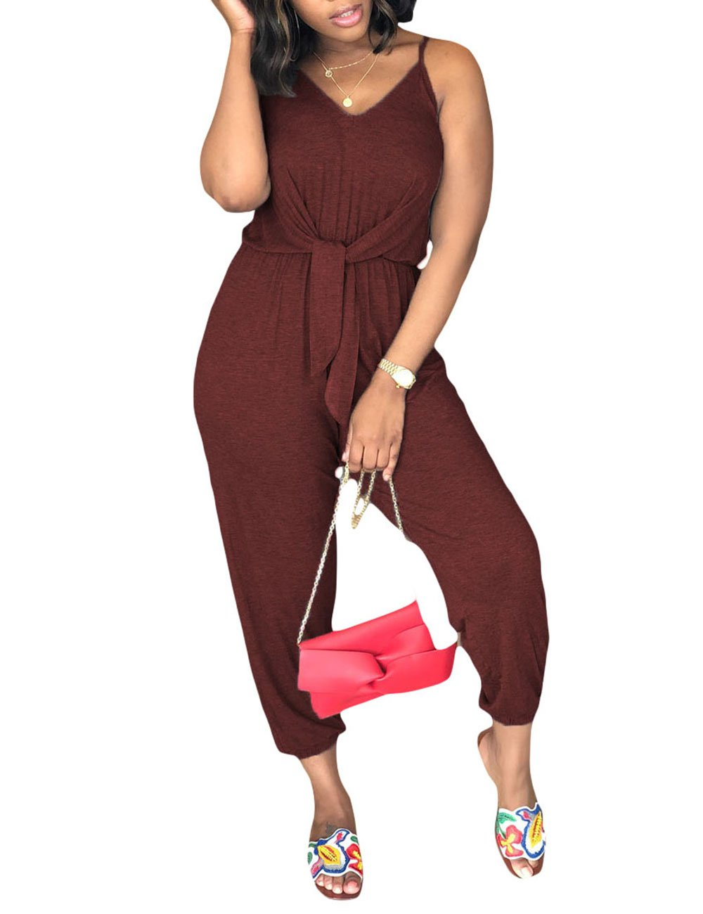 Angsuttc Casual Loose Sexy V Neck Sleeveless One Piece Loose Solid Jumpsuit for Women Red S