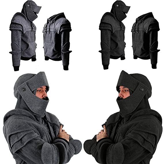 Amazon.com: iMakcc Mens Retro Mask Elbow Button Pullover Long Sleeve Hooded Sweatshirt Tops Blouse Outerwear: Clothing