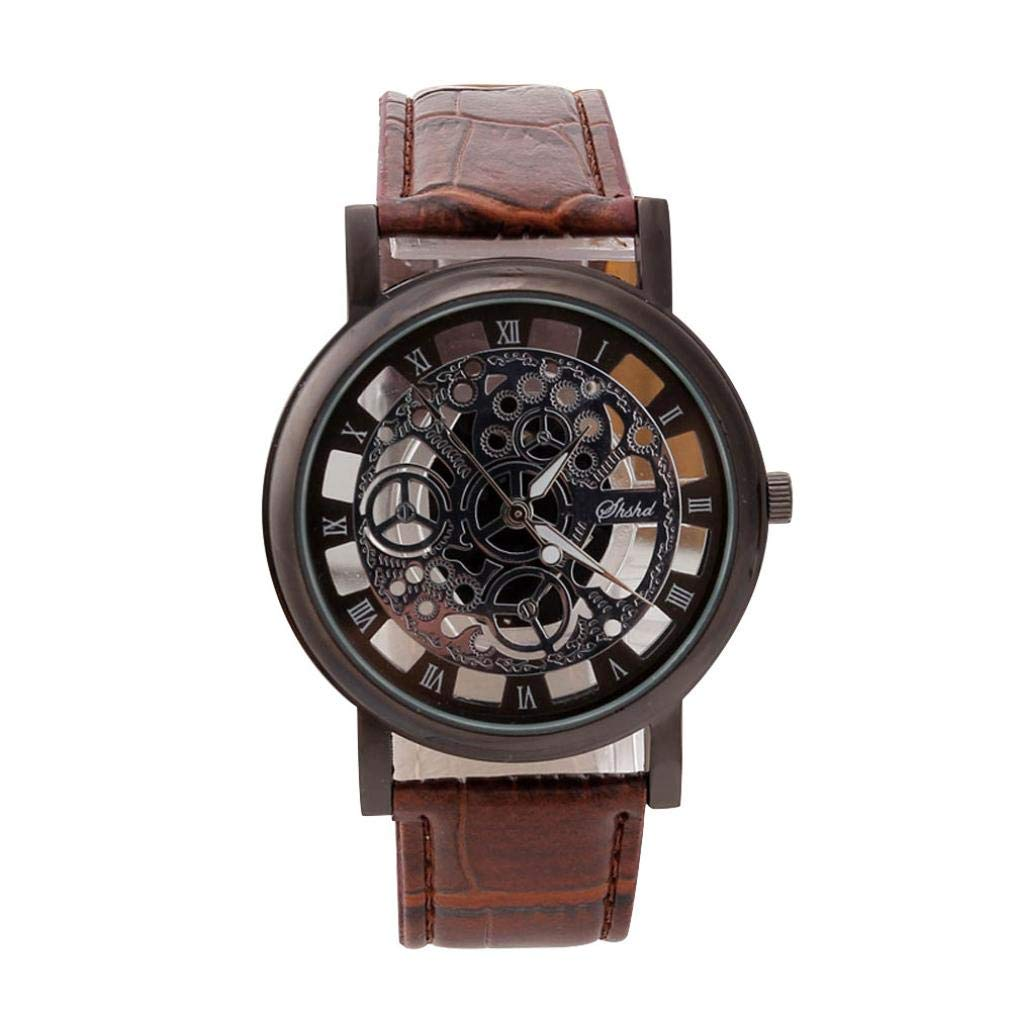 Men Fashion Watch Stainless Brown Leather Band Quartz Dial Skeleton Wrist Watch Zulmaliu (Colorful)
