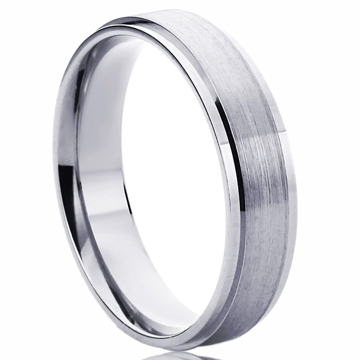 14k white gold wedding band 5mm brushed dome fort