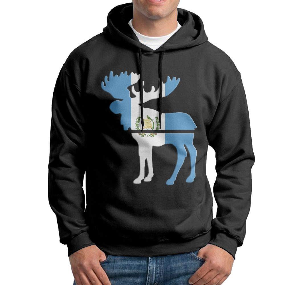Gppp899 Mens Pullover Hoodies Moose Guatemala Flag Long Sleeve Fleece Hooded Sweatshirt Sweater Blouses Tops