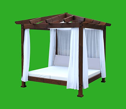 ESTRUCMADER - Cama balinesa con Cama de 2x2m, Techo a 4 Aguas, Color Nogal+Blanco: Amazon.es: Jardín