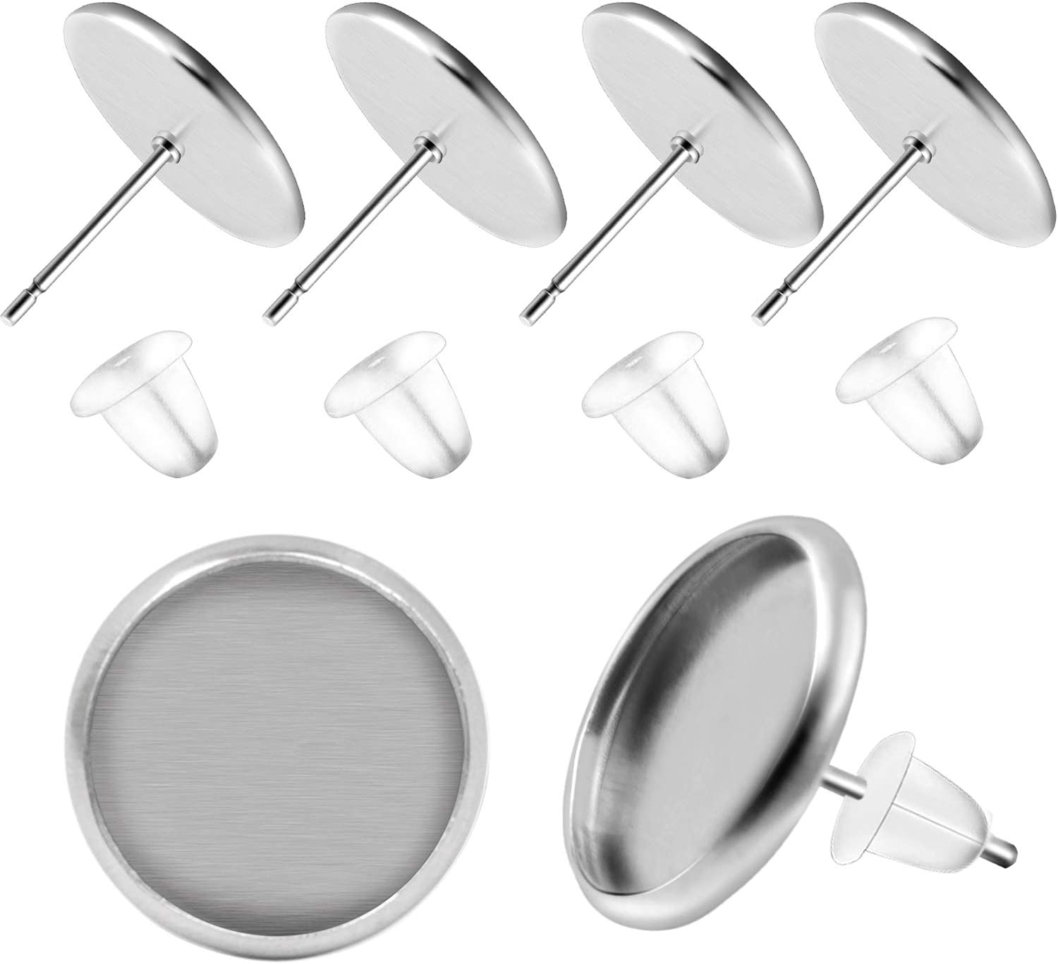 BronaGrand 50 Pieces Stainless Steel Stud Silver Earring Cabochon Setting Post Cup for 12mm and 50 Pieces Bullet Clutch Earrings Safety Backs