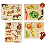 Constructive Playthings Wood Photo Knobbed Puzzles for Kids, Set of 4, Ages 2 Years and Up