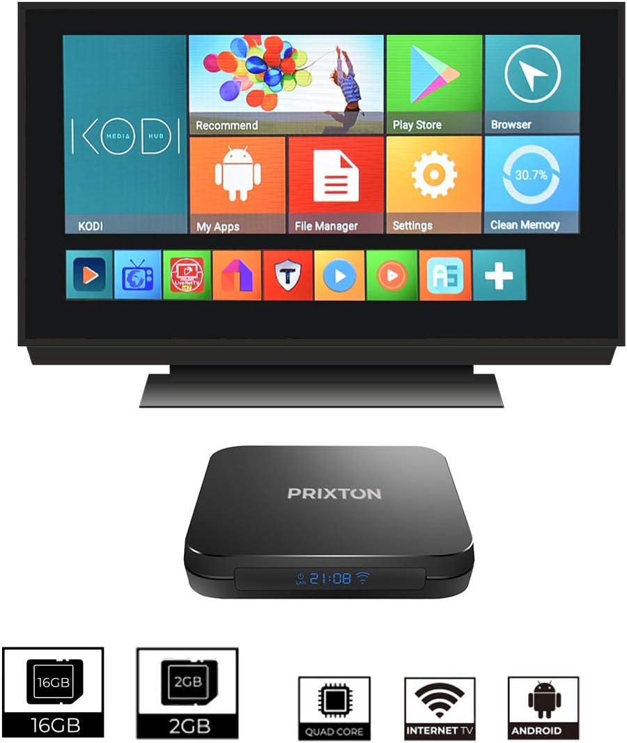 PRIXTON Smart TV Box - Android TV Box / Smart TV Box Android 7.1, 2GB RAM /16 GB ROM, Procesador Amlogic S905 W de 2.0 GHz, Quad Core, Mando a Distancia, Adaptador
