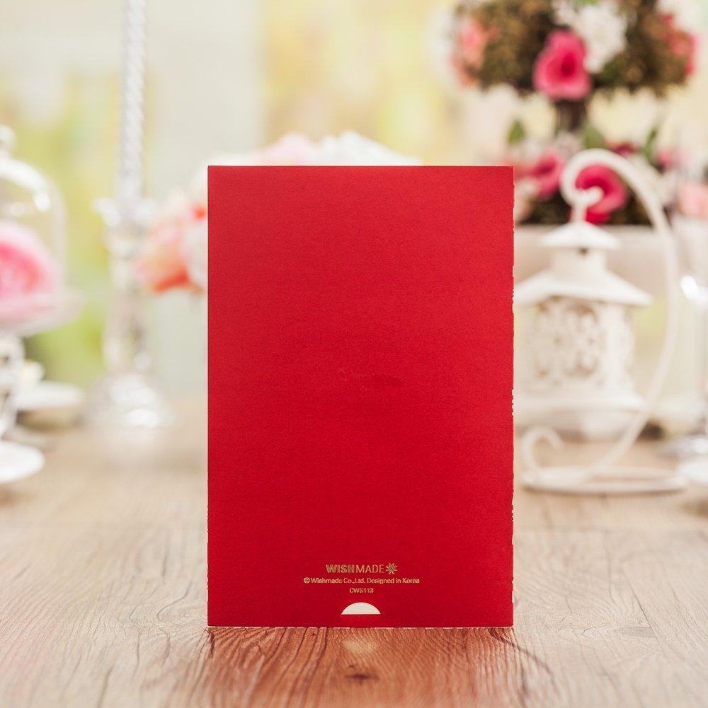 Amazon.com : Wishmade 12 Pieces Red Color Gold Foil Laser Cut Lace ...