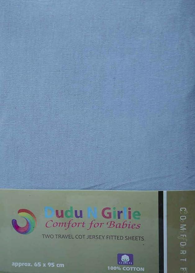 Dudu N Girlie algod/ón Jersey Mini cuna s/ábana bajera ajustable, 50/cm x 100/cm, 2/unidades color azul