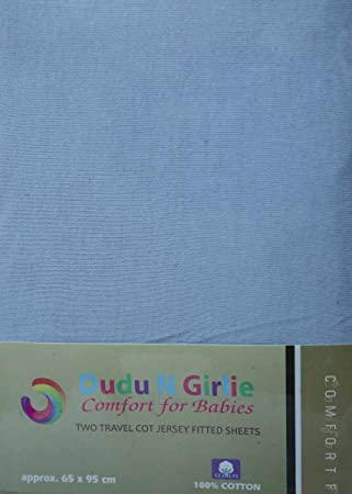 65 cm x 95 cm Cream Dudu N Girlie Thick Jersey Cotton Travel Cot Fitted Sheet