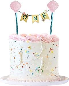 Keaziu 1pcs Sea Theme One Cake Topper, Happy 1st Birthday Cake Decor For Baby Shower Wedding Party Birthday Party Decoration Supplies