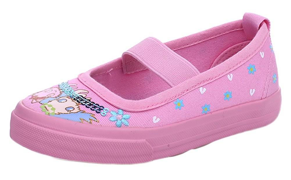 VECJUNIA Girls Casual Slip On Floral Boat Shoes Elastic Strap Dress Dance Loafers Pink 8 M US Toddler