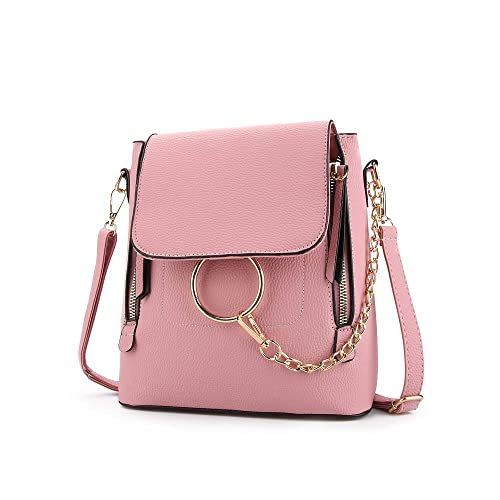e0e9880f Olyphy Fashion Leather Ring Backpack for Women, Designer Mini Chain ...