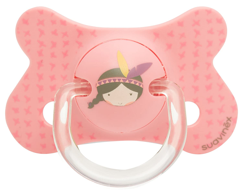 Suavinex 303042 - Chupete fisiológico látex de 4 a 18 meses, indios, color rosa