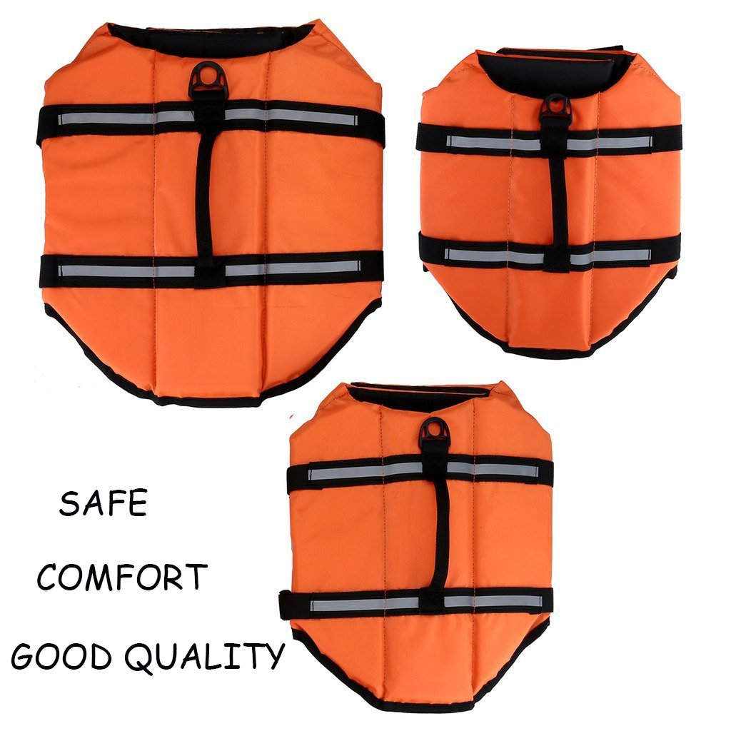 MESASA Dog Life Jacket Size Adjustable Dog Lifesaver Safety Reflective Vest Pet Life Preserver Size L