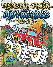 Coloriage Moto cross Monster Truck 4-8 ans: Livre de coloriage enfant 40 dessins de Motocross et de Monster Truck | Coloriage d'engins, voiture de course et Véhicules Super cars pour garçons | Coloriage Géant relaxant Zen et anti stress
