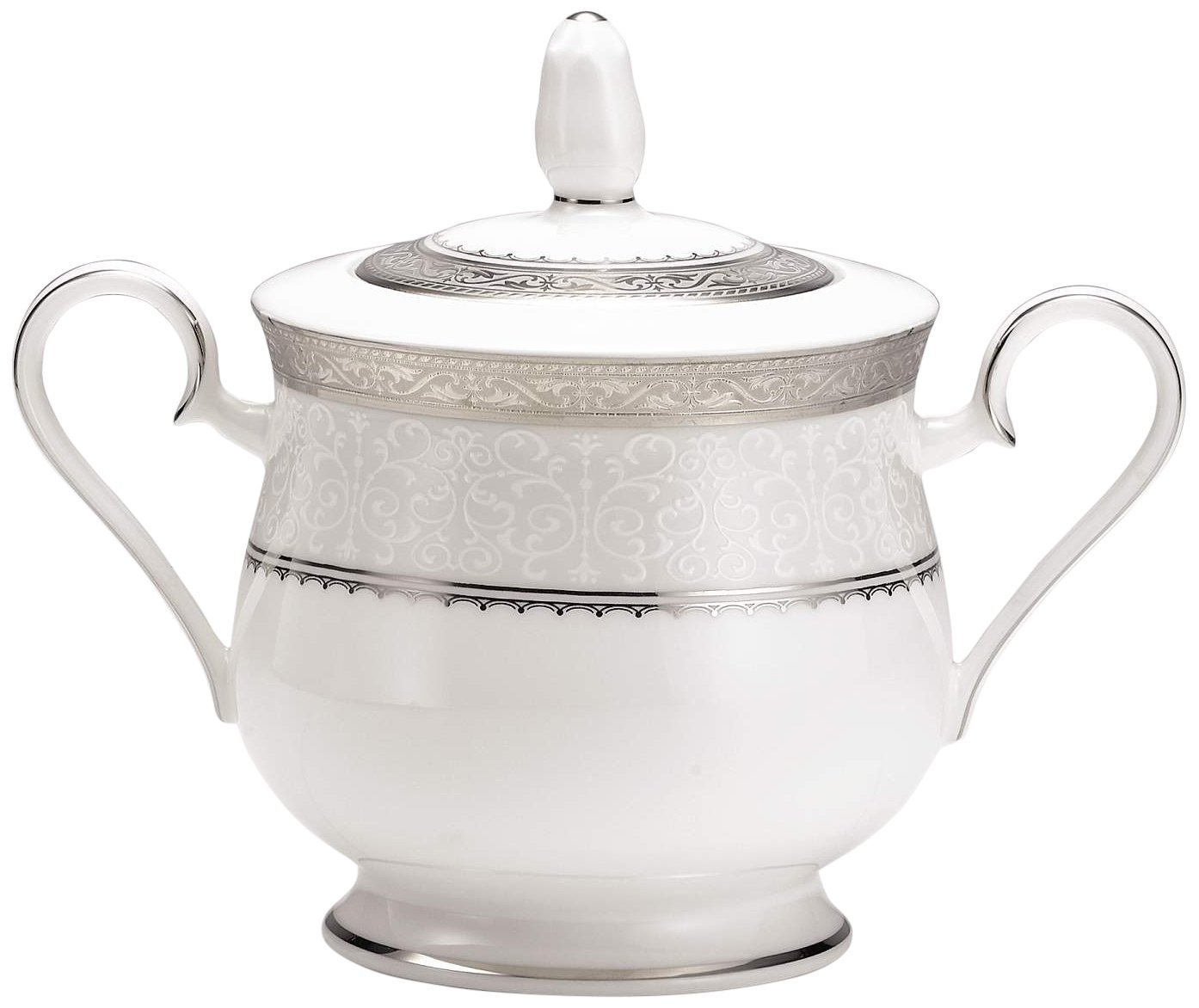Noritake Odessa 11-1/2-Ounce Sugar Bowl with Cover, Platinum