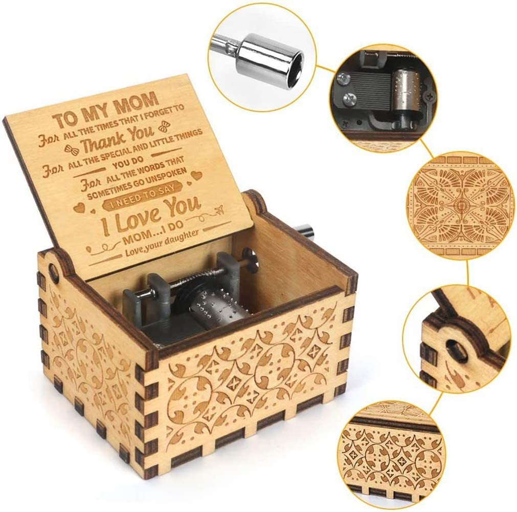 Dad to Son, Mini Wooden Classic Music Box Crafts with Hand Crank Musical  Box Gifts for Kids/Wife/Parents Music Box You are My Sunshine Theme Musical  Boxes & Figurines Home Décor Accents signtech.com.vn
