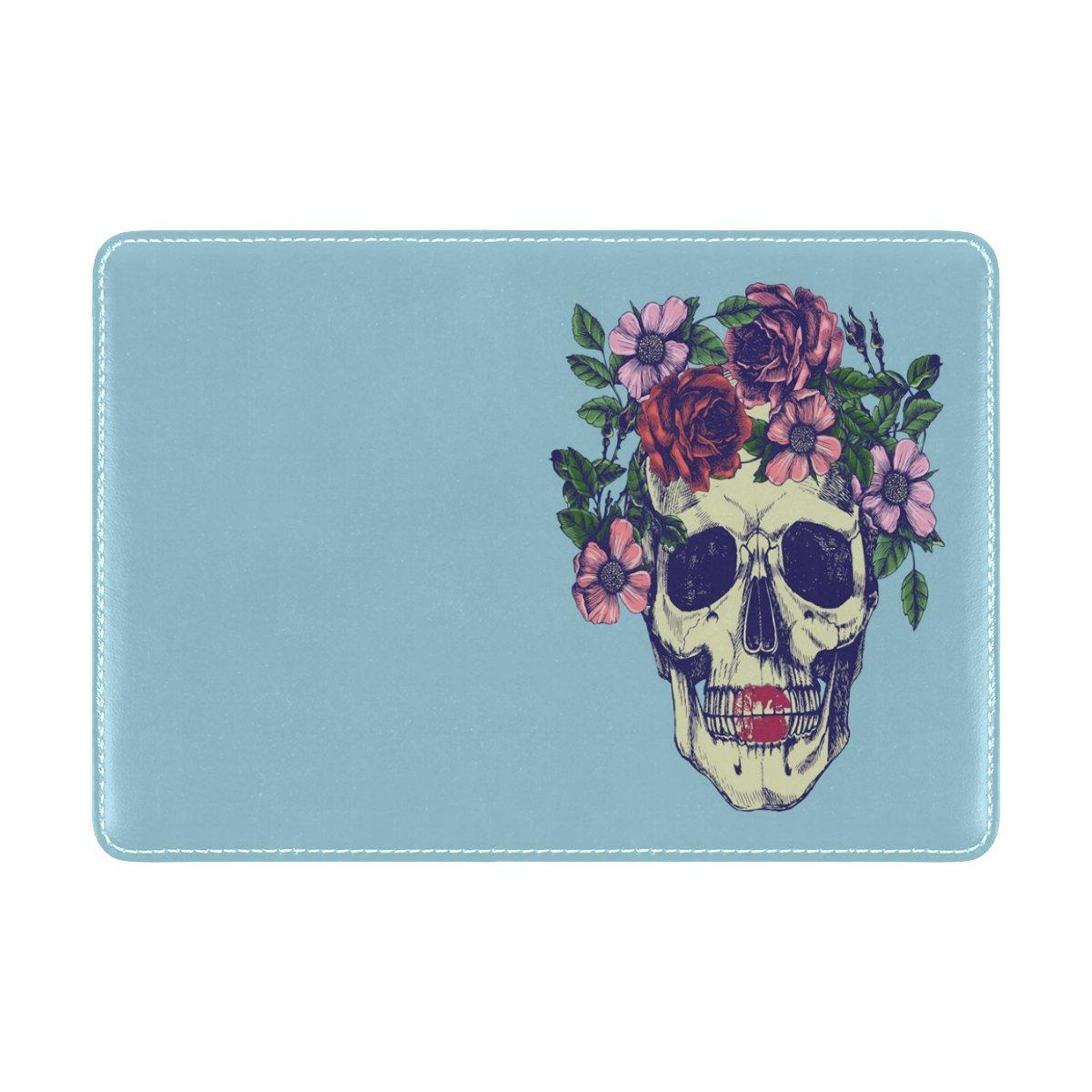 ALAZA Sugar Skull Floral Leather Passport Holder Cover Case Travel One Pocket
