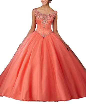 Long Prom Dress Tulle Scoop Neck Beaded Quinceanera Dresses For Sweet 16 Girls at Amazon Womens Clothing store: