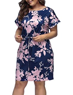 7e7259f22cb Lover-Beauty Women s Plus Size Dresses Floral Printed Round Neck Casual  Loose Dress