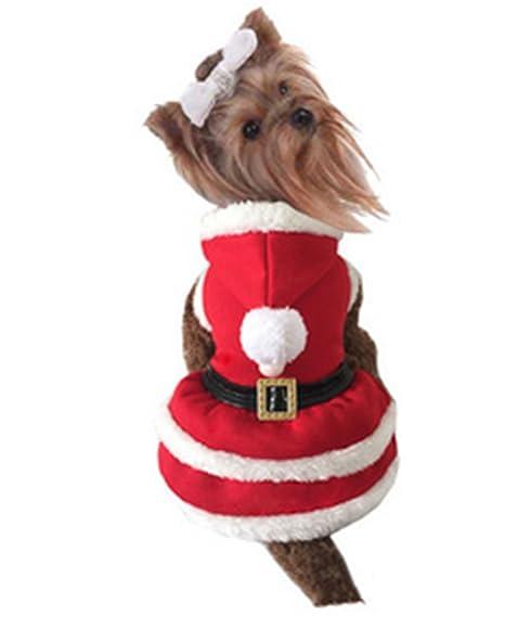 SHUNLIU Ropa para Perros Disfraces de Navidad Perro Mascota con Gorro Papá Noel Navidad Mascota Traje