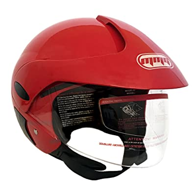 MMG 203 Motorcycle Scooter Street Open Face Helmet DOT, Flip Up Shield, Glossy Red, Small: Sports & Outdoors