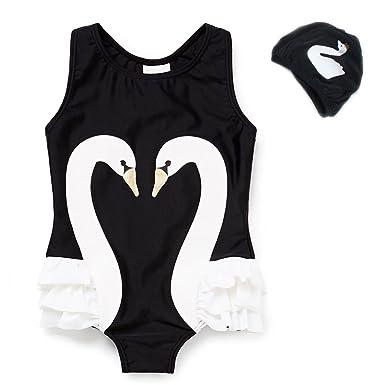 b8779b425d7e2 Loveyikee Baby Girls Cute One-Piece Swimsuits with Swim Cap Flamingo Swan  Swimwear Soft Bathing
