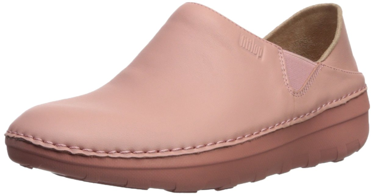 FitFlop Women's Superloafer Leather Slip-On Loafer, Dusty Pink, 7.5 M US