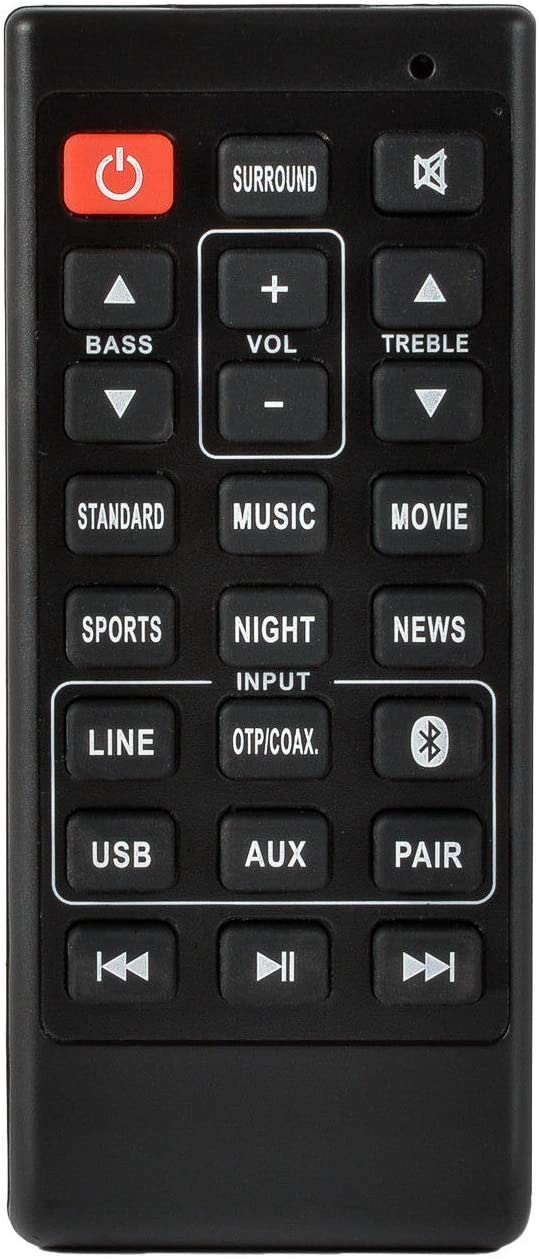 Replacement Remote for Sanyo FWSB405FS FWSB405F FWSB426F NC302UH NC300UH NC306UH FWSB426FA Sound Bar Remote Control - Black Subwoofer Speaker Home Audio System Accessories