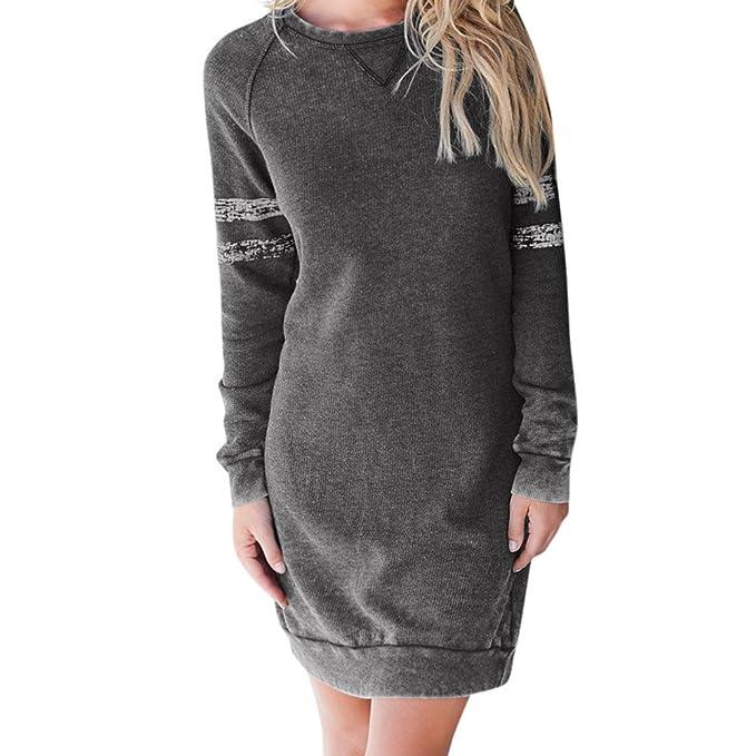 4261cc94965 Luckycat Damen Casual SAMT Langarmshirts Sweatshirt Minikleid Mode 2018