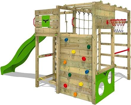 FATMOOSE Parque infantil de madera FitFrame Fresh XXL con tobogán, Área de juegos da exterior, Escalera Sueco con pared de escalada para niños