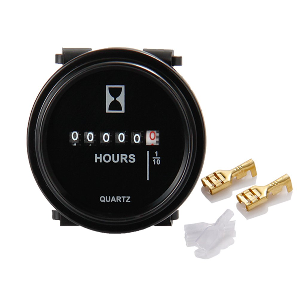 Runleader HM009 DC 6V to 80V Round Hour Meter Snap in Quartz Hour Meter Mechanical Timer for Boat Auto Atv Utv Snowmobile Lawn Mower Tractors Vehicle Cars Fork Lifts Trucks Marine Generator by RunLeader