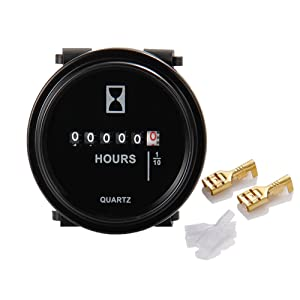 Runleader HM009 DC 6V to 80V Round hour meter Snap in Quartz hour meter mechanical timer for Boat Auto ATV UTV Snowmobile Lawn Mower Tractors vehicle Cars Fork Lifts Trucks marine generator