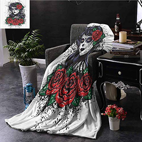 Cheap Elxmzwlob Weighted Blanket Skulls Decor Hypoallergenic Dead Hair Sugar Skull Lady with Roses in Retro Ink Style (60